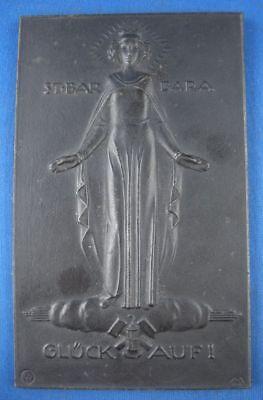 Plakette Eisenplakette Eisenguss Buderus Glück auf !   St. Barbara