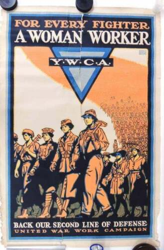 Original WWI Poster For Every Fighter a Woman Worker YMCA United War Campaign