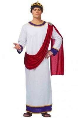 TOGA MALE ROMAN GREEK GOD JULIUS CAESAR ZEUS ADULT MENS COSTUME W/ WREATH WHITE - Greek God Costumes Men