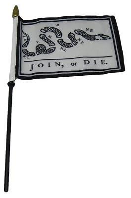 Join Or Die Gadsden  4 X6  Flag Desk Set Table Wooden Stick Staff