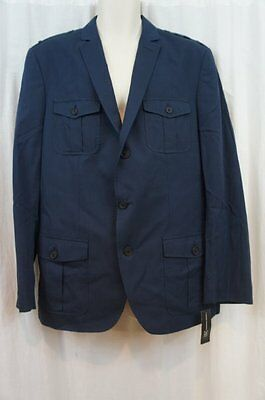 INC International Concepts Blazer Sz L Navy Blue 100% Cotton Sports Jacket
