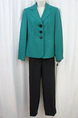 Evan Picone Pant Suit Sz 16 Jade Green Black Gramercy Park Business Cocktail