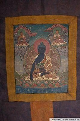 Tibet 20. Jh. A Tibetan Thangka Depicting Buddha Shakyamuni - Pintura Tibetana