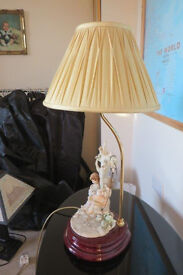 TABLE LAMP by B Merli, Florence Figurine of Girl on Swing and Boy Standing.