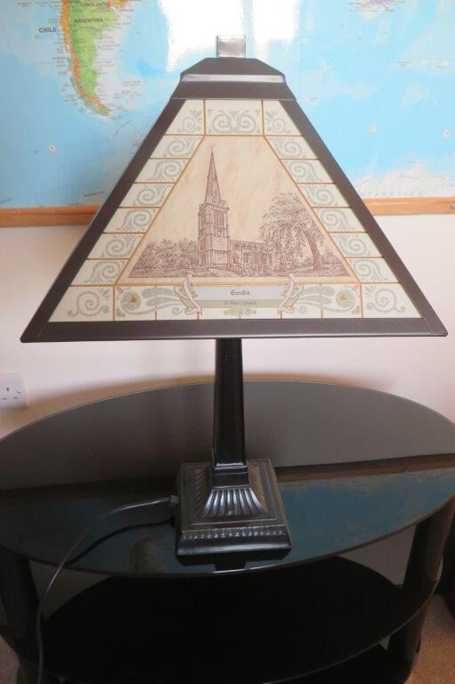 TABLE LAMP, Art Deco style, Oundle church scenes on glass shade, By Decor Art Design