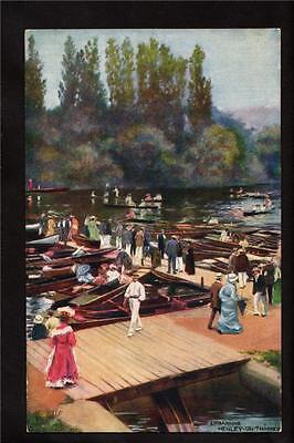 (Tuck boats embarking Regatta Henley on river Thames Uk postcard)