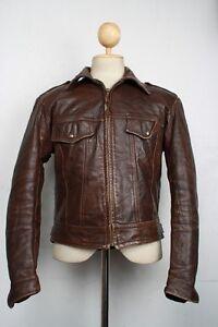 Vtg-70s-HARLEY-DAVIDSON-AMF-Fitted-Leather-Motorcycle-Jacket-Medium