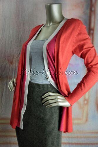 New RENA LANGE Orange Fuchsia Pink Cardigan Sweater Medium