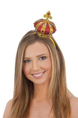Princess Crown Costume (Womens Queen Crown Royalty Mini Hat Costume Headband Red Gold Princess Adult)
