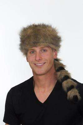 Raccoon Hat Coon Fur Costume Cap Rat Tail Davy Crockett Davey Pioneer Faux Fur - Coon Hat