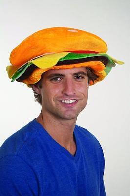 Adult Unisex Hamburger Hat Cheeseburger Cap Halloween Costume Womens Mens NEW - Hamburger Costume Adult
