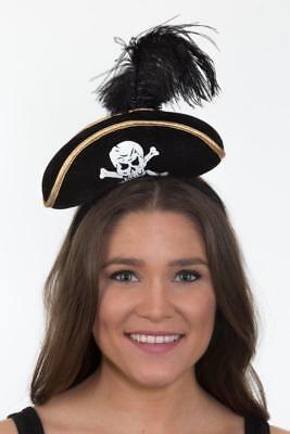 Womens Pirate Mini Hat Headband Black Tricorn Mini Cap Head Band Halloween Adult (Pirate Headband)