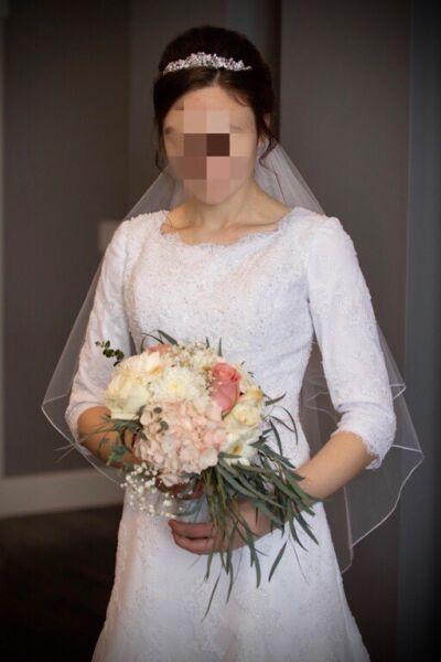 Modest winter lace wedding dress