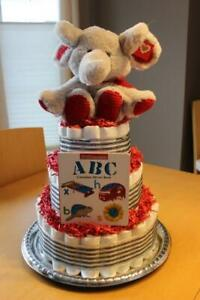 Gender Neutral Diaper Cake - over 100 usable pampers +