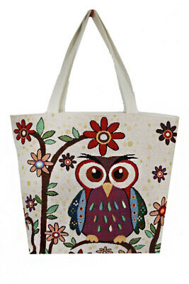 Women Canvas Hobo Beach_Shopping Tote Bag With Various Owl Printed Easy Foldable](Owl Bag)