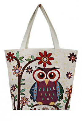 Women Canvas Hobo Beach_Shopping Tote Bag With Various Owl Printed Easy Foldable