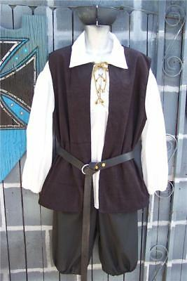 Mens Pirate Renaissance Pirates of Caribbean Costume Shirt Knickers Vest Large](Costume Knickers)