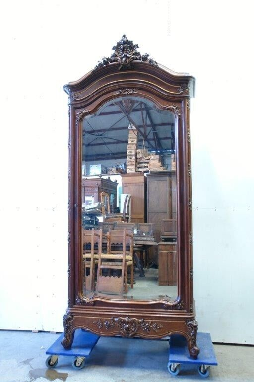 Antique French Louis XV Style Single Door Armoire Wardrobe Cabinet