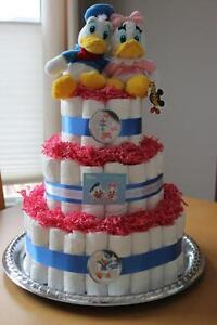 Donald and Daisy Diaper Cake - over 100 usable diapers ++