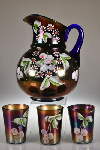 ca. 1910 Enameled CHERRIES & BLOSSOMS Fenton ROYAL BLUE Pitcher & 3 Tumblers