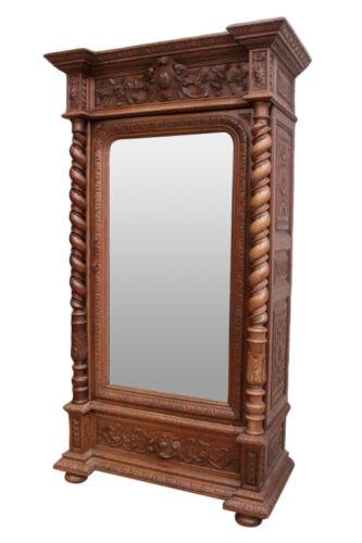 19th Century Antique Hunt Armoire, Mirrored, Oak