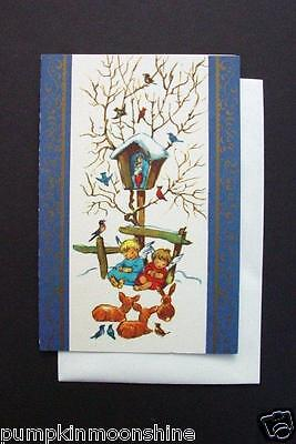 #H961- Unused Erica Von Kager Brownie Greeting Card Angels Sleeping by Nativity