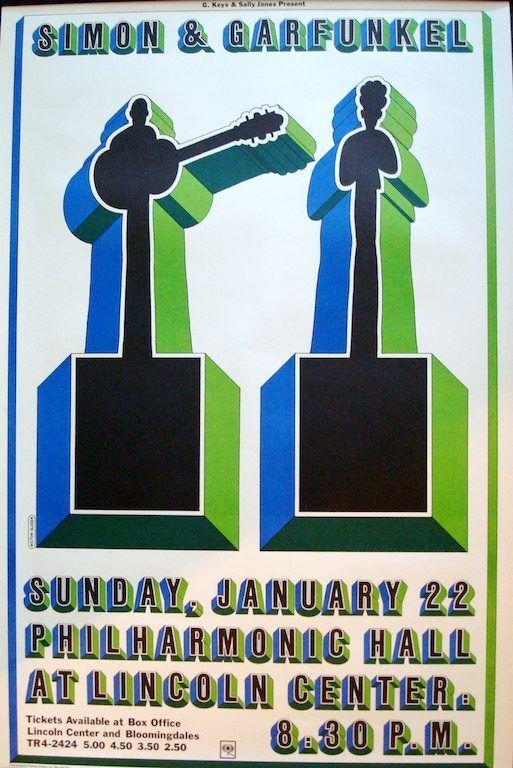 SIMON AND GARFUNKEL Vintage 1967 NEW YORK concert poster MILTON GLASER SUPERB