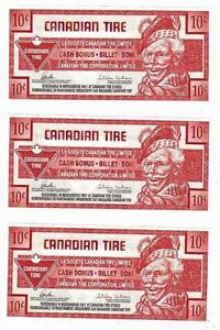 2012-10c CANADIAN TIRE MONEY NOTE coupon Consecutive