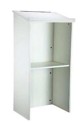 AdirOffice White Wood Stand up Lectern, Floor-standing Podium, Adjustable Shelf