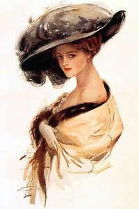 Harrison-Fisher-Girl-HAT-Edwardian-Fabric-Block-Med