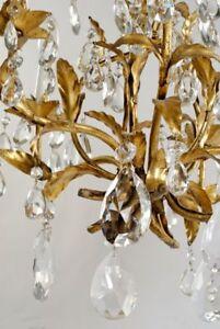 Vintage Florentine Crystal Gold Gilt Tole Chandelier