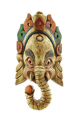 Mask Nepalese of L Himalaya Elephant Dieu Ganesha Wooden Painted 3425