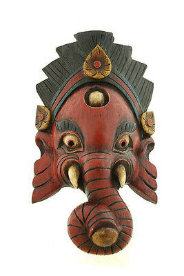 Mask Nepalese of L Himalaya Elephant Dieu Ganesha Wooden Painted 3416