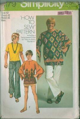 Vintage Mod Simplicity Sewing Pattern 9179 Mens Dashiki Pants Hippy Father's Day - Male Hippie Clothes