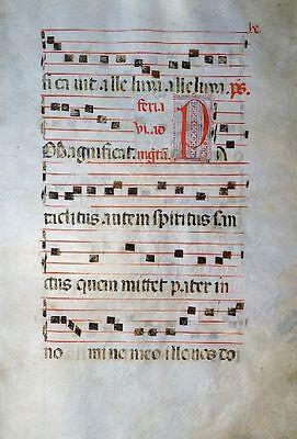 GOTHIC ANTIPHONAR MANUSCRIPT PERGAMENT GRADUALE INITIALEN ITALIEN UM 1480