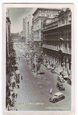 Martin Place Street Scene Sydney NSW Australia RPPC postcard