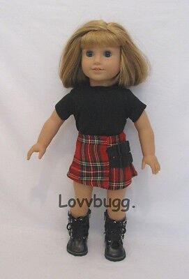 "Lovvbugg Plaid Skirt Set for 18"" American Girl Doll Clothes"