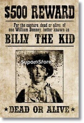 Billy The Kid Western Wanted Sign Vintage Poster Photo Fridge Magnet 2