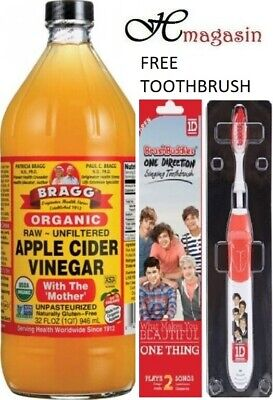 Bragg Apple Cider Vinegar 946ml + FREE TOOTHBRUSH