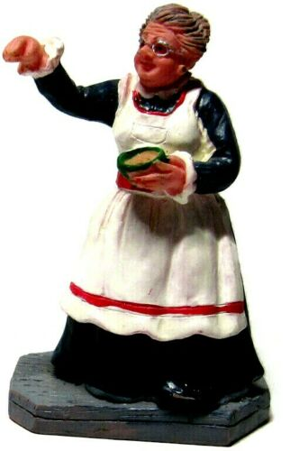 Lemax Christmas Village Figure Grandma Apron Holding Bowl Pointing