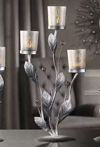 Silver-Design-Metal-Glass-Candle-Tealight-Holder-with-3-Glass-Cup-Holders-New