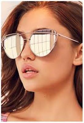 Large Sunglasses Sky Ocean Blue Lens Oversized Cat Eye Metal Frame Flat Mirror