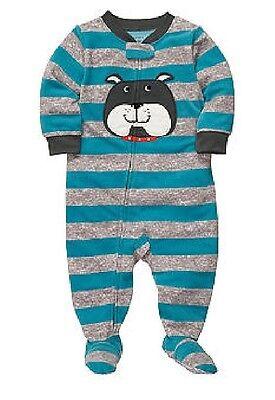 - NWT Boys Carters Bulldog Dog Stripe Fleece 1 PC Sleeper Pajamas  4T NEW