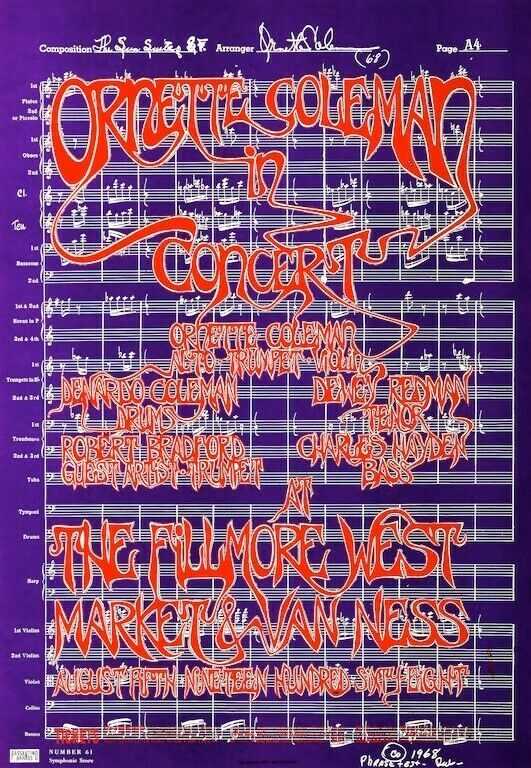 Ornette Coleman at the Fillmore West POSTER 1967 Jazz