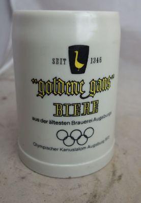 große Auflösung Bierkrug Nr. 1549 Goldene Gans Olypmia Kunststoff Kunststoff Krug Groß