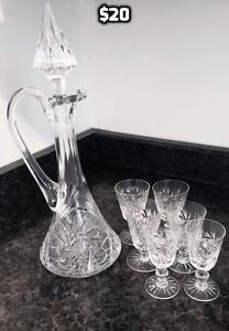 Crystal Decanter and Stemware