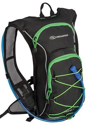 Highlander Kestrel 9 Hydration Pack Black & Green, Hydro Bag, 9 Litre Rucksack