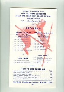 1946 National Collegiate Track & Field Meet Championships Program- Minnesota