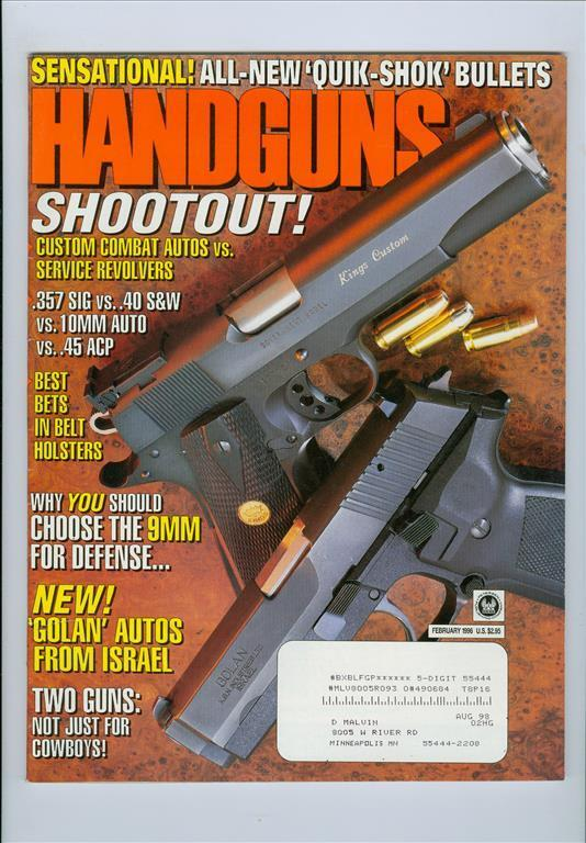 1996 HandGuns magazine: Custom combat autos vs. service revolvers