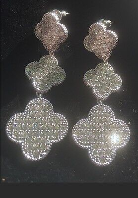(Clover Leaf 3 Flower Drop Earrings Platinum Plated Pave Crystal Designer Style)